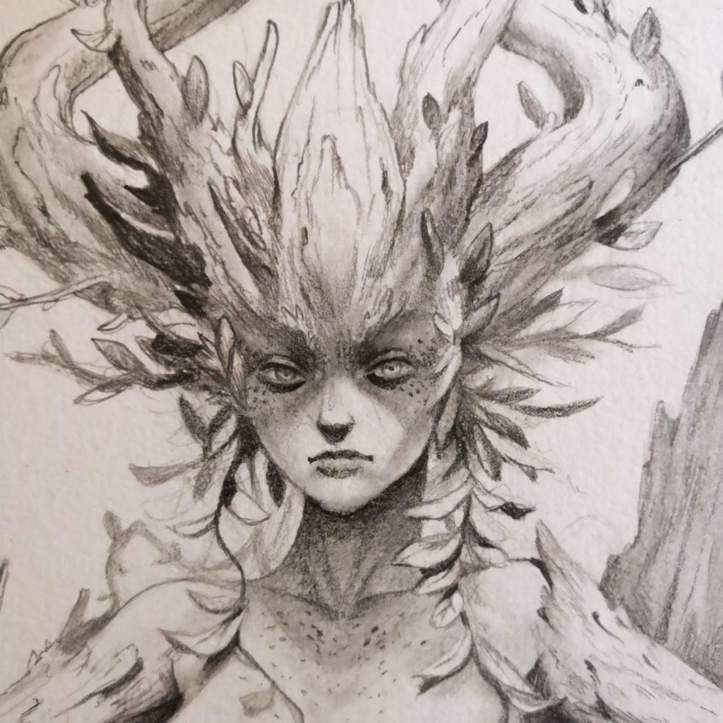 Croquis  sur le thème fantasy/faery